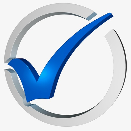 Blue Tick Circled Showing Checked Verified Excellence Guaranteed