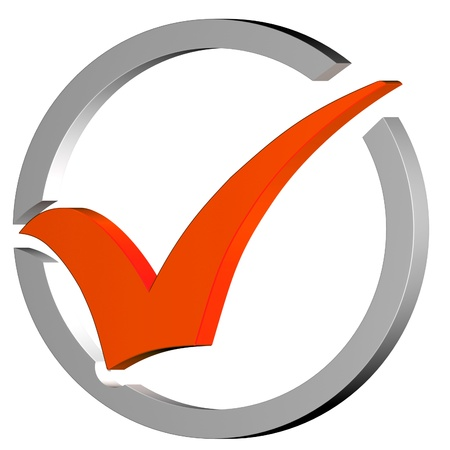 Orange Tick Circled Showing Quality Verified Approved Passed Good Stock Photo - 16517867