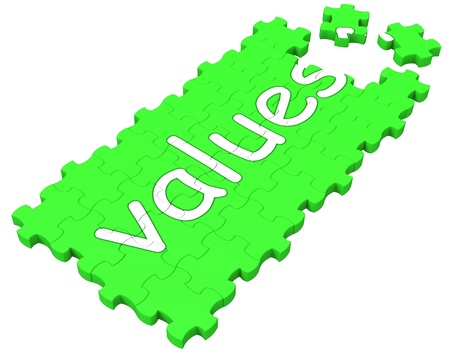 principles: Values Puzzle Shows Principles, Morality And Ideology Stock Photo