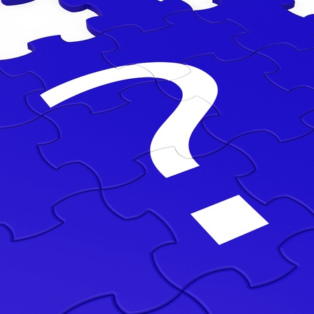 enquire: Question Mark Puzzle Shows Interrogations And Mystery  Stock Photo