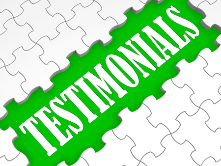 credentials: Testimonials Puzzle Showing Credentials, Recommendations And Reviews.