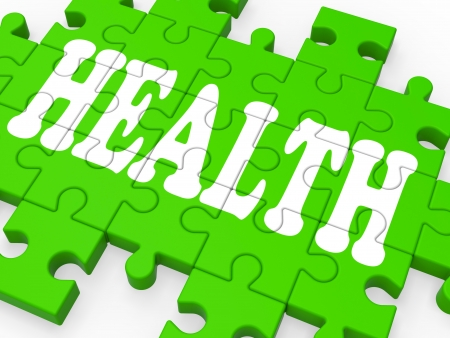 Health Puzzle Shows Medical Care And Healthy Life