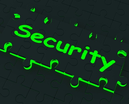 Security Glowing Puzzle Shows Restricted Areas And Protection Stock Photo - 16517585