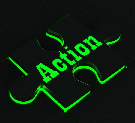 activism: Action Glowing Puzzle Showing Motivation, Activism And Inspiration Stock Photo
