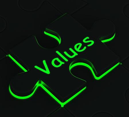 valores morales: Valores Glowing Puzzle Mostrando valores morales y �ticos