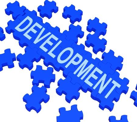 business improvement: Development Puzzle Shows Business Improvement And Progress Stock Photo