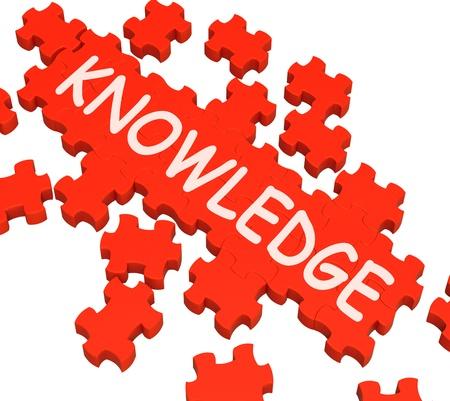 encyclopedias: Conocimiento Puzzle Mostrando Inteligencia, Sabidur�a y Educaci�n Foto de archivo