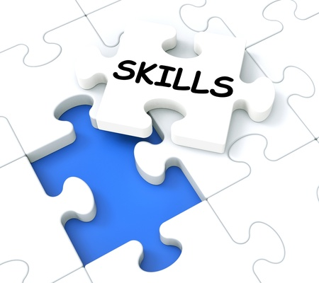 competences: Skills Puzzle Shows Aptitudes, Talents And Abilities