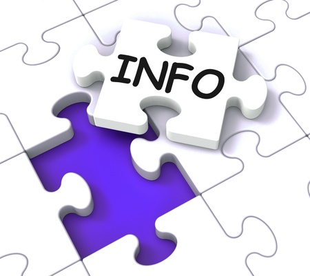 Info Puzzle Shows Information, Knowledge And Assistance Stock Photo