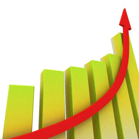 Yellow Bar Chart Showing Increasing Profit against Budget Stock Photo - 16517821