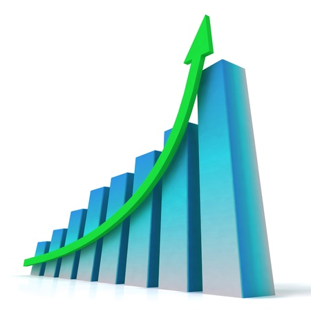 Blue Bar Chart Showing Increasing Profit against Budget Stock Photo - 16517873