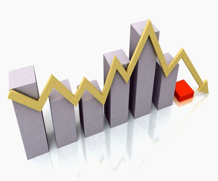 Bar Chart Showing Yellow Profit Line Against Budget Bar Chart Stock Photo - 16517788