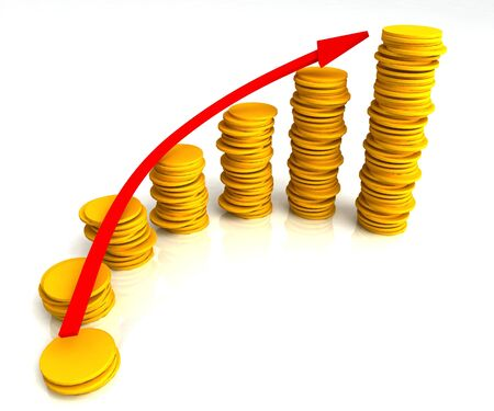 Angled Coin Stacks Showing Increasing Profit Growth Success Stock Photo - 16517696
