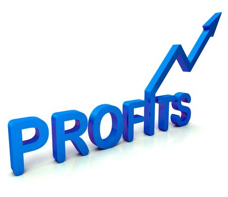 earned: Blue Profit Word Showing Income Earned From Business, Success,  Stock Photo