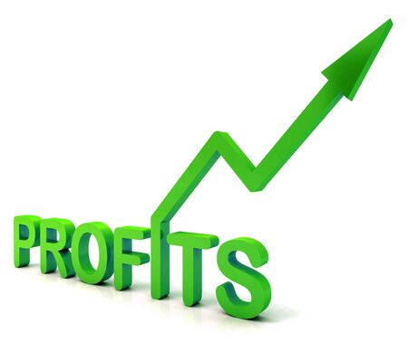lucrative: Green Profit Word Showing Income Earned From Business, Success,
