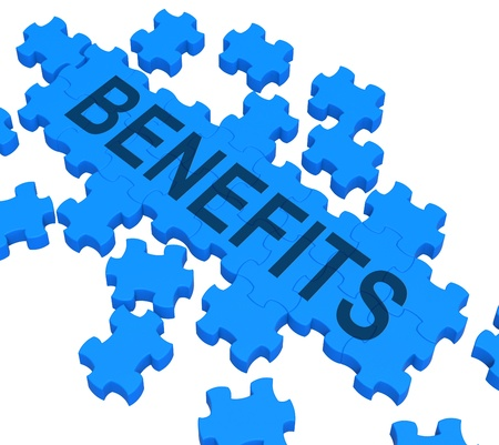 Benefits Puzzle Shows Company Rewards Or Bonus Compensation Stock Photo - 16517712