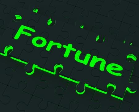 mala suerte: Puzzle Fortune Glowing Muestra buena o mala suerte Foto de archivo