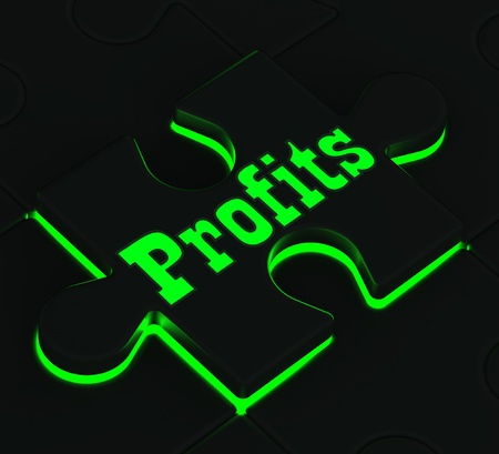 lucrative: Profits Glowing Puzzle Showing Monetary Incomes And Earnings Stock Photo