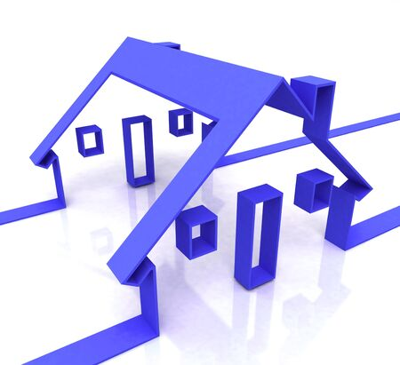 rentals: Blue House Symbol Showing Real Estate Or Rentals