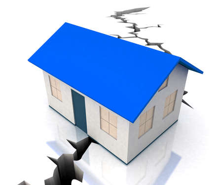 Blue Roof House On Crack Showing Disaster Decline Stock Photo - 16517743