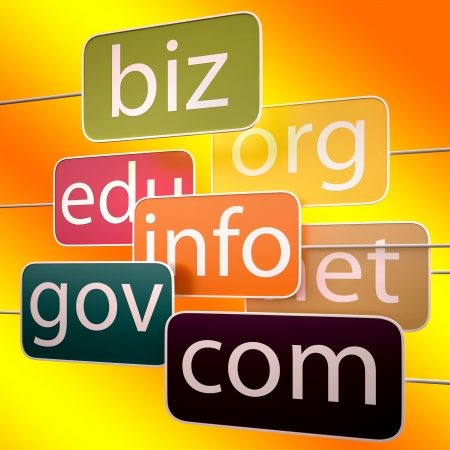 edu: Orange Url Words Showing Org Biz Com Edu Addresses Stock Photo