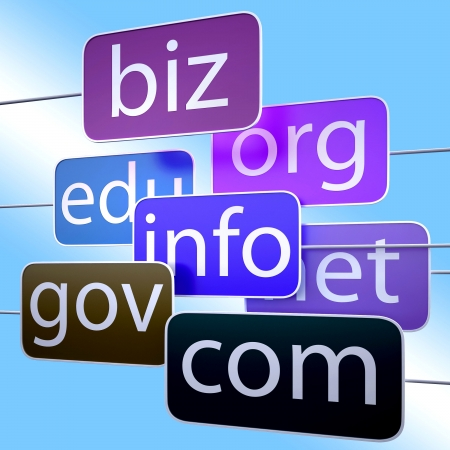 Blue Url Words Showing Org Biz Com Edu Addresses Stock Photo - 16517773