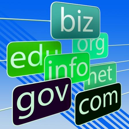 url: Green Url Words Showing Org Biz Info Gov Addresses Stock Photo
