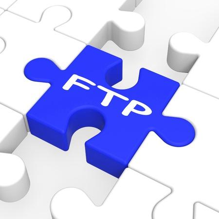 protocols: Puzzle FTP mostra i file protocolli di trasferimento e Internet Archivio Fotografico