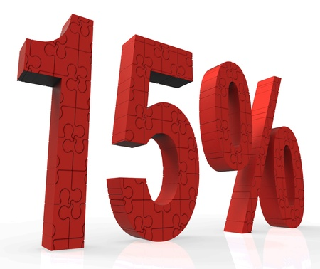 15% Puzzle Showing Sales Offers And Bonus Prices Stock Photo - 16517656