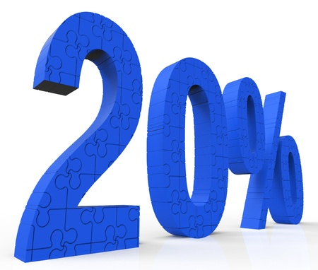 20% Puzzle Shows Twenty Percent Reduction And Clearance Stock Photo - 16517657