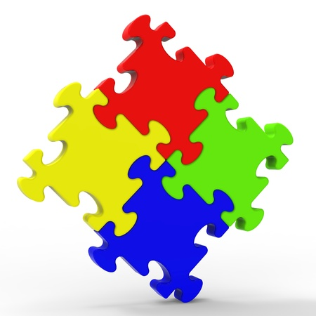 Multicolored Puzzle Square Showing Union And Togetherness Stock Photo - 16754878