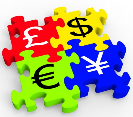 Currency Symbols Puzzle Showing Forex And Money Exchange Standard-Bild