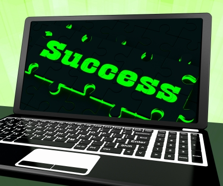accomplishments: Success On Laptop Showing Solutions And Accomplishments