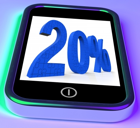 20% On Smartphone Showing Special Promotions And Offers Stock Photo - 16936661