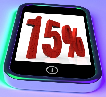 price reduction: 15% On Smartphone Showing Savings, Price Reduction And Discounts