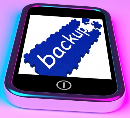Backup On Smartphone Shows Contacts Recovery And Data Restoration Stock Photo - 16936631