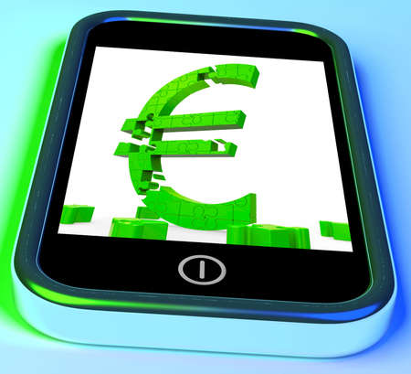 Euro Symbol On Smartphone Showing European Financial Investment And Currency Stock Photo - 16936619