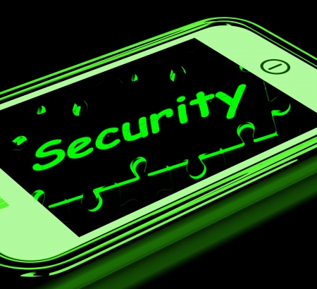 Security On Smartphone Shows Secure Password And Privacy Stock Photo - 16936638