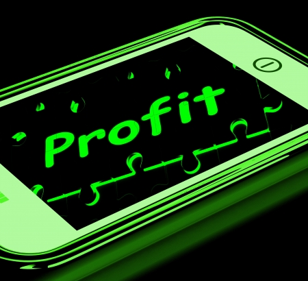 lucrative: Profit On Smartphone Shows Lucrative Earnings And Monetary Increase