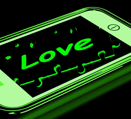 Love On Smartphone Showing Romantic Text Messages And Proposal Calls photo