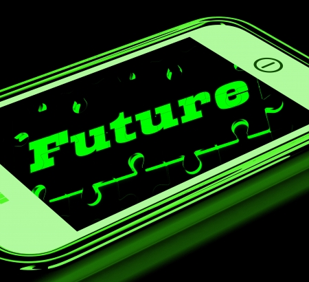 forecasts: Future On Smartphone Showing Forecasts And Future Evolution