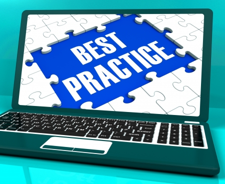 best practice: Best Practice On Laptop Showing Successful Practices And Effective Habits Stock Photo