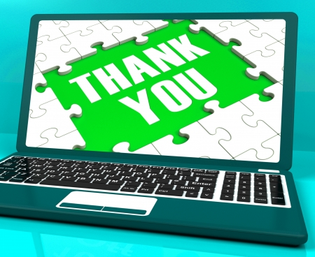 thankfulness: Thank You On Laptop Shows Appreciation And Gratefulness