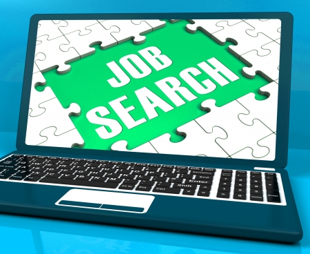 internet search: Job Search On Laptop Shows Online Recruitment And Internet Employment