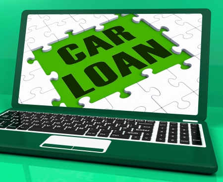 Car Loan On Laptop Shows Automobile Sales Website And Online Purchases Stock Photo - 16936706