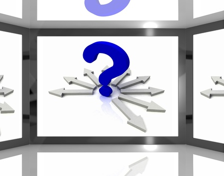 enquire: Question Mark On Screen Shows Questions TV Show Or Confusion Stock Photo