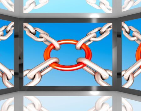 Chains Joint On Screen Shows Unity And Strength Stock Photo - 16936699