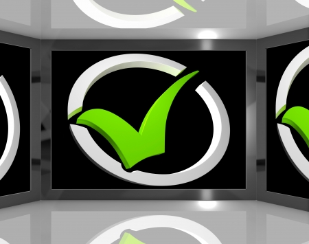 Check Mark On Screen Showing Passed Exam Or Checked Stock Stock Photo - 16936481