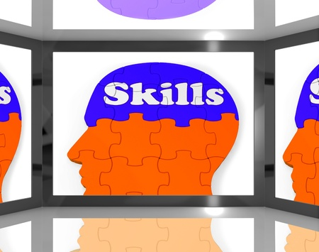 competences: Skills On Brain On Screen Showing Human Competences And Talents Stock Photo