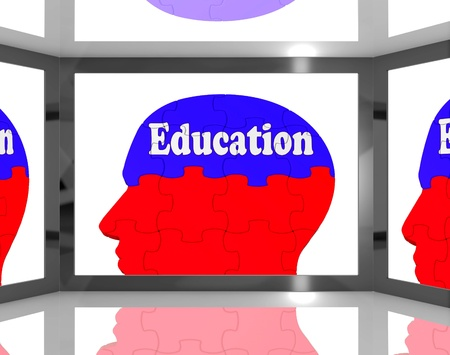 Education On Brain On Screen Shows Human Learning And Teaching Stock Photo - 16936462